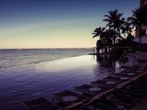 Luxurious infinity pool. Infinity pool at hotel resort Stock Photo