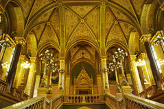 Luxurious interior. Interior details in Parliament building, Budapest, Hungary Stock Image