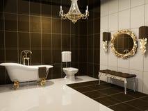 Luxurious interior of bathroom. Golden frame, sofa, bath, water closet, lamps Royalty Free Illustration