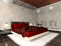 Luxurious interior of bedroom vector illustration