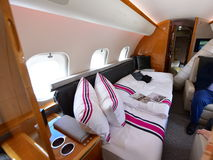 Luxurious interior of Bombardier Global 6000 business jet at Singapore Airshow Royalty Free Stock Images