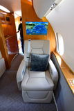 Luxurious interior of Bombardier Global 6000 business jet at Singapore Airshow Royalty Free Stock Photography