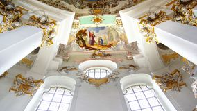 The luxurious interior of the Church Wieskirche Royalty Free Stock Photo