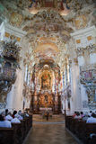 The luxurious interior of the Church Wieskirche Royalty Free Stock Images