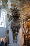 The luxurious interior of the Church Wieskirche Royalty Free Stock Image