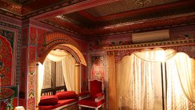 Luxurious interior decoration of fort stock video footage