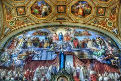 Luxurious interior of one of the rooms of the Vatican museum stock image