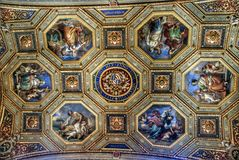 Luxurious interior of one of the rooms of the Vatican museum Stock Images
