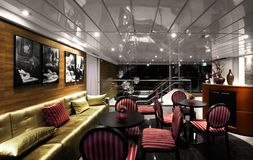 Luxurious interior of restaurant of cruise ship Royalty Free Stock Photo