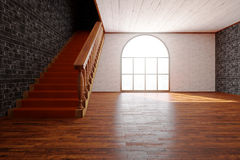 Luxurious interior with staircase front Stock Photo