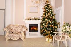 Luxurious interior with white Christmas tree and fireplace. Stock Photos