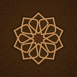 Luxurious islamic arabic pattern template. Luxurious islamic arabic background pattern template. Round pattern in Arabic style on ornate brown background. Circle Stock Photography