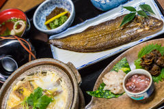 Luxurious Japanese meal set - broiled sole fish and boiled loach Stock Photo