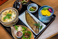 Luxurious Japanese meal set - broiled sole fish and boiled loach Royalty Free Stock Photography