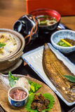 Luxurious Japanese meal set - broiled sole fish and boiled loach Royalty Free Stock Image