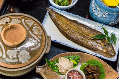 Luxurious Japanese meal set - broiled sole fish and boiled loach Stock Photography