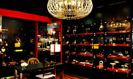 Jewelry Store, Luxurious Black and Red Interior Decoration Stock Photo