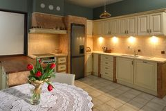 Luxurious Kitchen. A luxurious kitchen in a house royalty free stock image