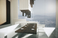 Luxurious kitchen with city view Royalty Free Stock Photos
