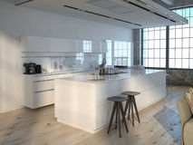 Luxurious kitchen. 3d rendering Royalty Free Stock Photography