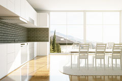 Luxurious kitchen interior. With equipment, dining area and panoramic city view. 3D Rendering Stock Photo