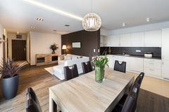 Luxurious kitchen with living area Stock Photography