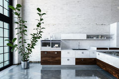Luxurious kitchen in modern apartment Royalty Free Stock Images