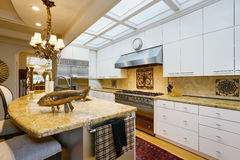 Luxurious kitchen room interior with antique details Royalty Free Stock Photography