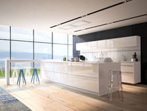 Luxurious kitchen with stainless steel appliances. In a apartment Royalty Free Stock Image