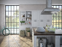 Luxurious kitchen with stainless steel appliances Stock Image