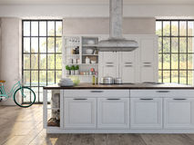 Luxurious kitchen with stainless steel appliances Royalty Free Stock Images