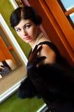 Luxurious lady. Portrait of luxurious lady turning around Stock Images