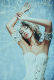 Luxurious lady in a white dress stock images