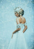Luxurious lady in a white dress royalty free stock photos