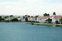 Luxurious lake view homes Stock Photos