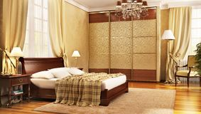 Luxurious large bedroom in a classic style royalty free stock photography