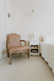 Luxurious leather chair. In stylish sunny room Royalty Free Stock Image