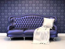Luxurious leather sofa with covering in interior Stock Photo