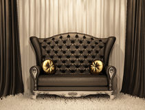 Luxurious leather sofa with pillows. On the curtain background Stock Illustration