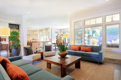 Luxurious living room. Living room in upscale home royalty free stock images