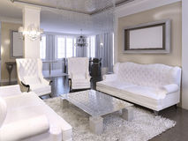 Luxurious living room design with white chairs and sofa. Royalty Free Stock Image