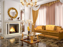 Luxurious living room with fireplace. 3d illustration Royalty Free Stock Photo