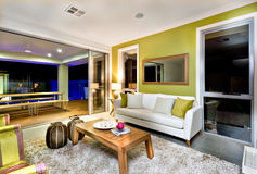 Luxurious living room interior with sofas and fancy decorations stock images