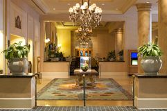 Luxurious lobby in an upscale resort Royalty Free Stock Photos