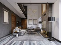 Luxurious Lof Interior Design Living Room In A Hipster Style With Gray Furniture And Walls And A Creative Cabinet Under The TV Stock Photography