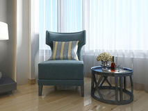 Luxurious lounge chair turquoise living room. Royalty Free Stock Photo