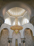Luxurious lustre in the mosque. Interior details of the huge mosque stock image
