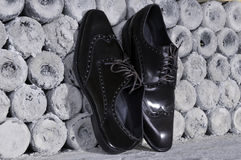 Luxurious men's leather handmade shoes. Royalty Free Stock Photos