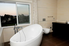 Luxury Home - Modern Bathroom - White Bathtub Royalty Free Stock Photos