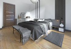 Luxurious, modern bedroom in contemporary style in black and whi Royalty Free Stock Photo